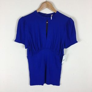 Free People Blue Short Sleeved Top Size Small